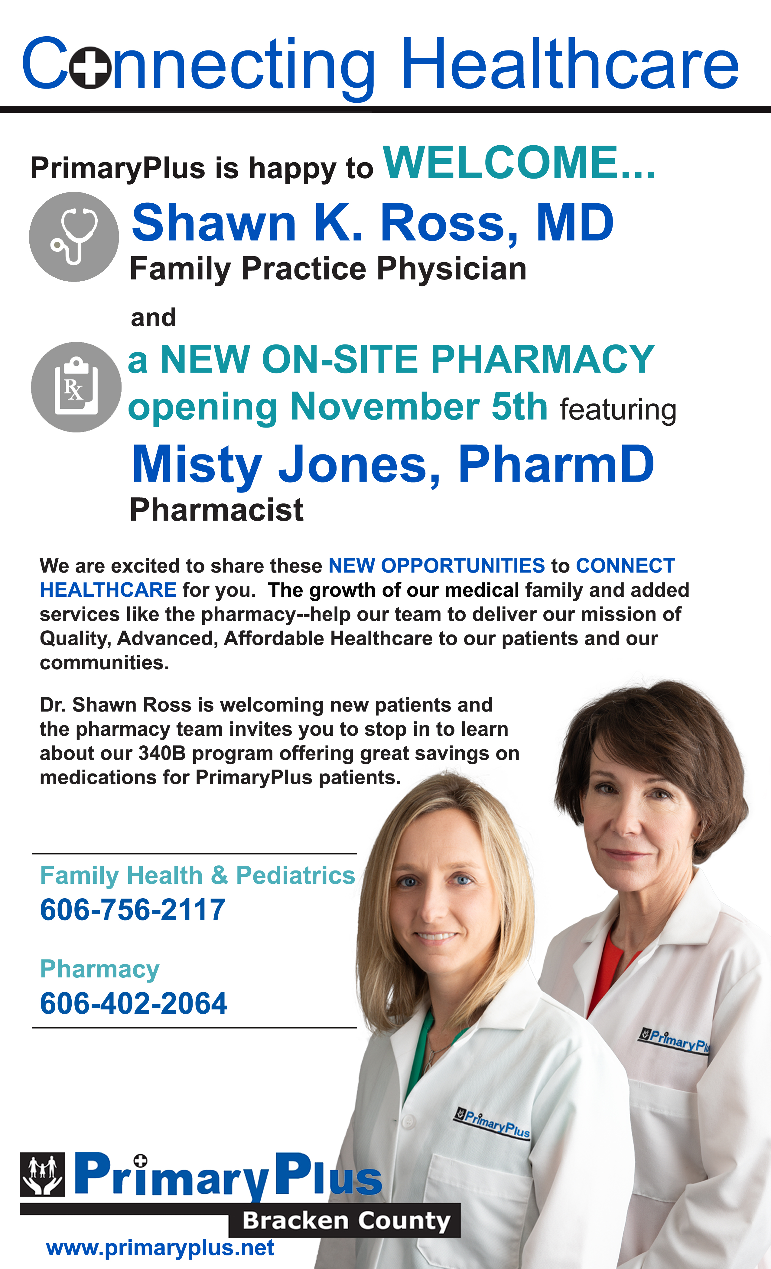 PrimaryPlus-Bracken Welcomes Dr. Shawn Ross & a New On-Site Pharmacy News