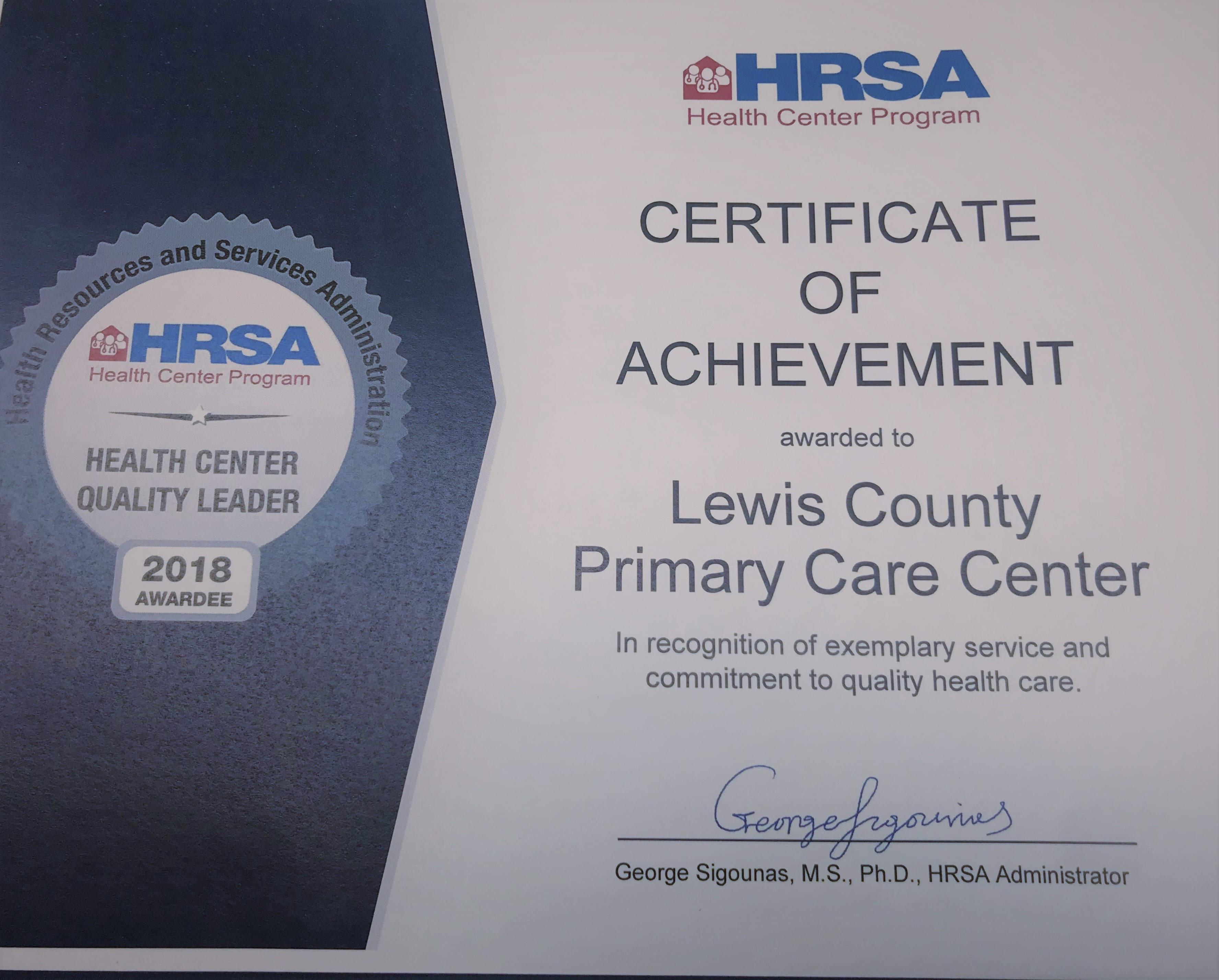 PrimaryPlus Receives 2018 Health Center Quality Leader Award News