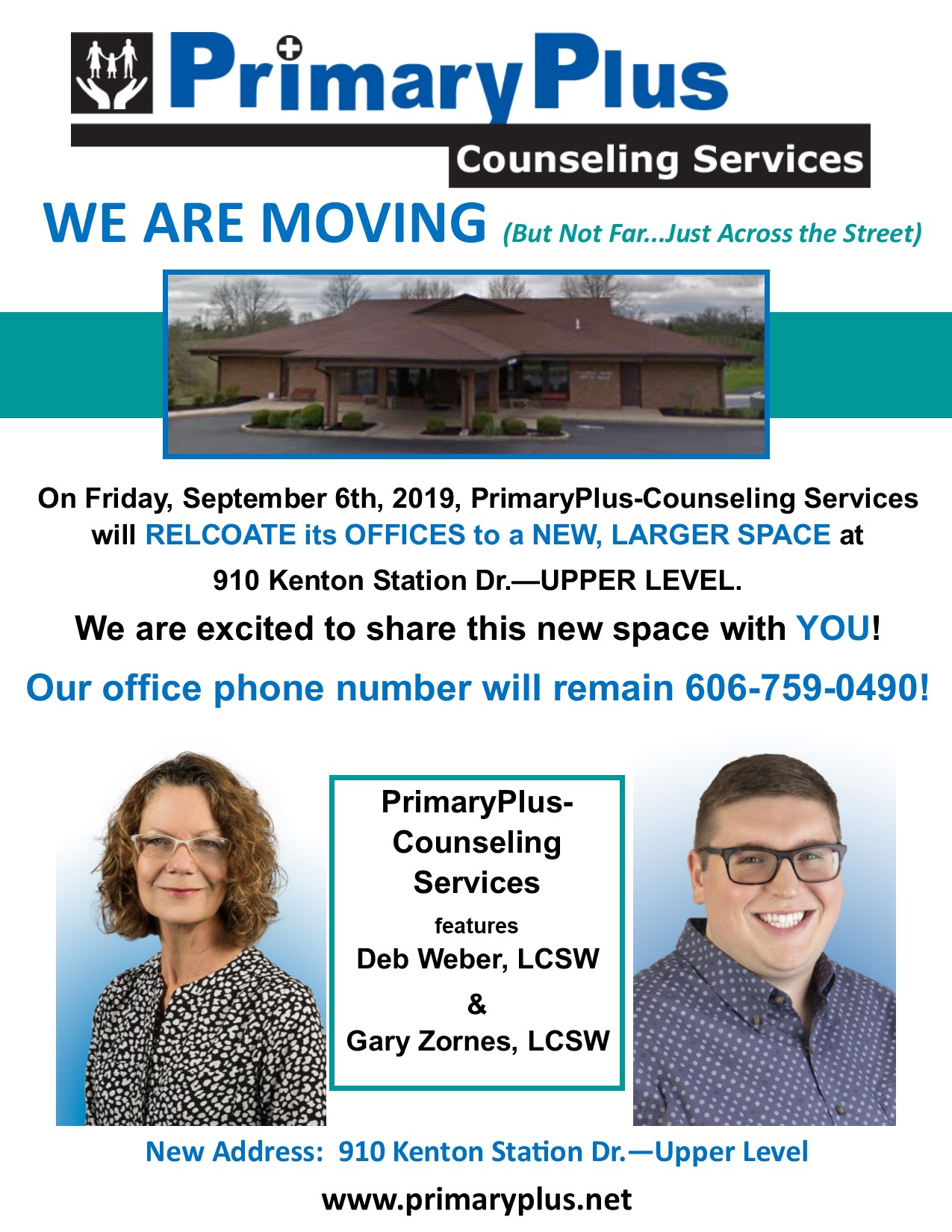 PrimaryPlus-Counseling Services MOVING to NEW LARGER OFFICE News
